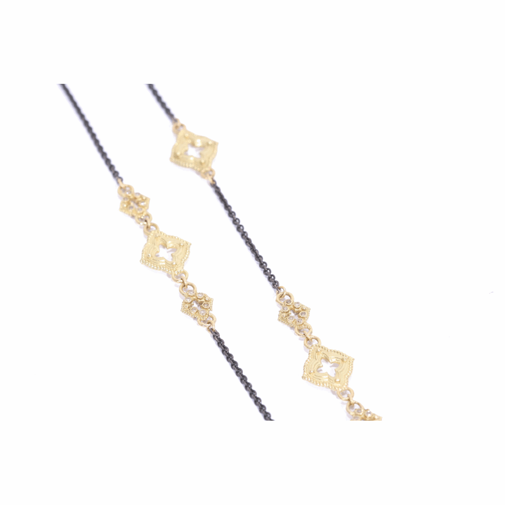 Cable Chain With Champange Diamond Clover Scroll Stations