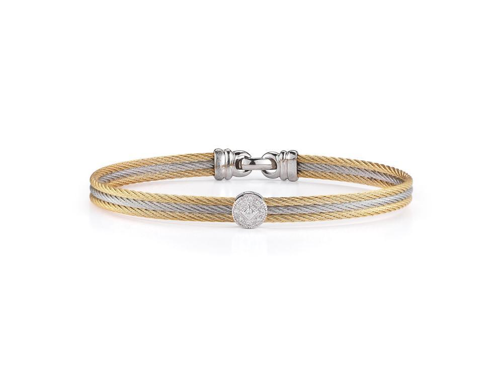Two Tone Single Squared Station Bangle