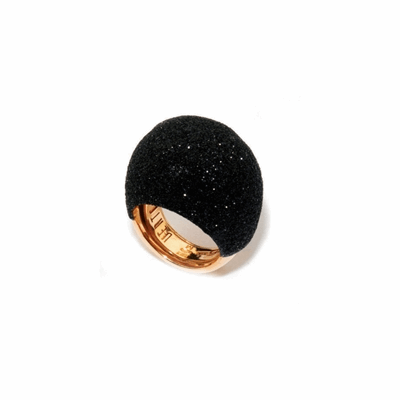Large Dome Polvere Di Sogni Ring - Rose Gold & Black Dust