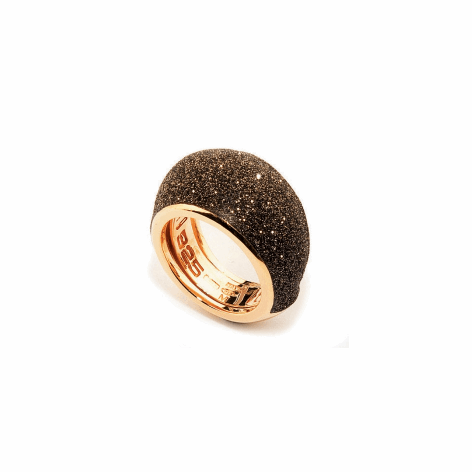 Small Dome Polvere Di Sogni Ring - Rose Gold & Dark Brown Dust