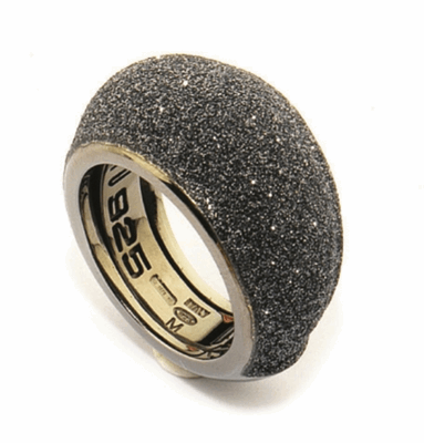 Small Dome Polvere Di Sogni Ring - Ruthenium & Dark Gray Dust