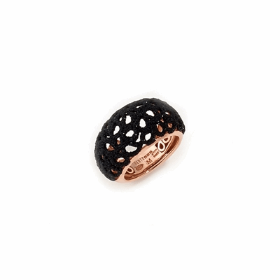 Small Dome Laser Cut Polvere Di Sogni Ring - Rose Gold & Black Dust