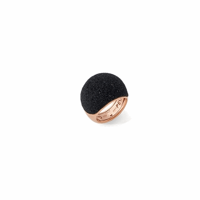 Medium Dome Polvere Di Sogni Ring - Rose Gold & Black Dust