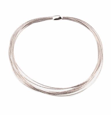 Closeup photo of DNA Spring Thin Necklace - Rhodium