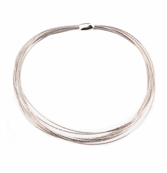 Closeup photo of DNA Spring Thin Necklace - Rhodium