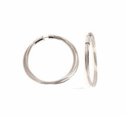 Closeup photo of DNA Spring Medium Hoop Earrings - Rhodium