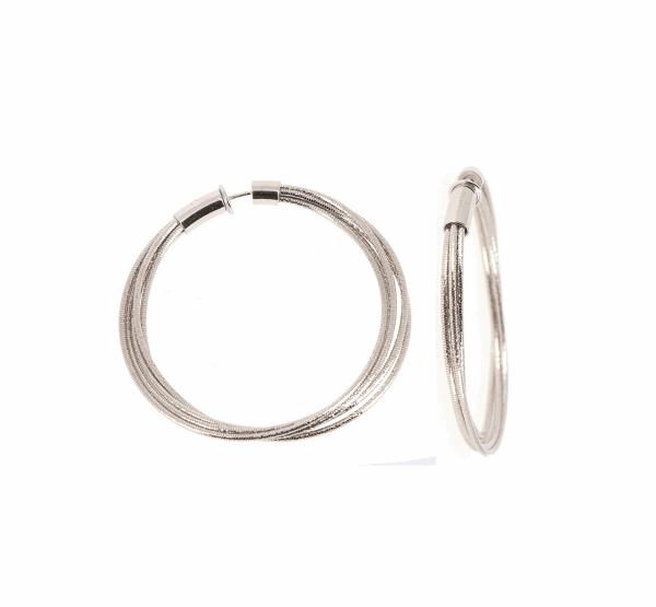Closeup photo of DNA Spring Medium Hoop Earrings - Rhodium