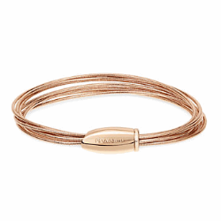 Closeup photo of DNA Spring Thin Bracelet - Rose Gold