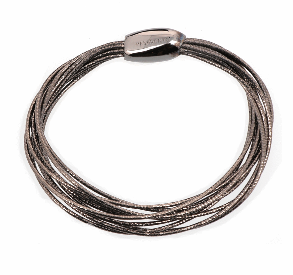 Ruthenium Plated Sterling Silver Thin Bracelet with Magnetic Bead Clasp