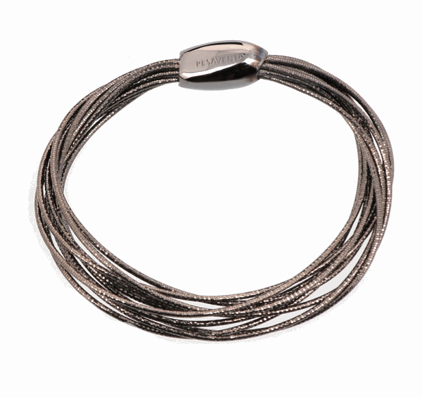 Closeup photo of Ruthenium Plated Sterling Silver Thin Bracelet with Magnetic Bead Clasp