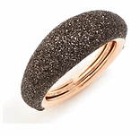 Thin Bombe Polvere Di Sogni Ring - Rose Gold & Dark Brown Dust