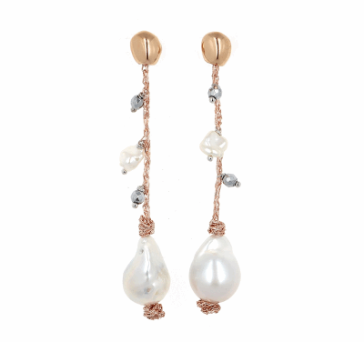 DNA Shine Strand Earrings w/Hematite & Pearls - Rose Gold