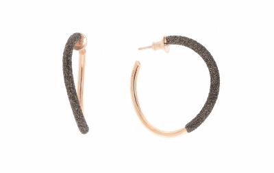 2-Tone Front Dripped Polvere Wave Hoop Earrings - Rose Gold & Dark Brown Dust