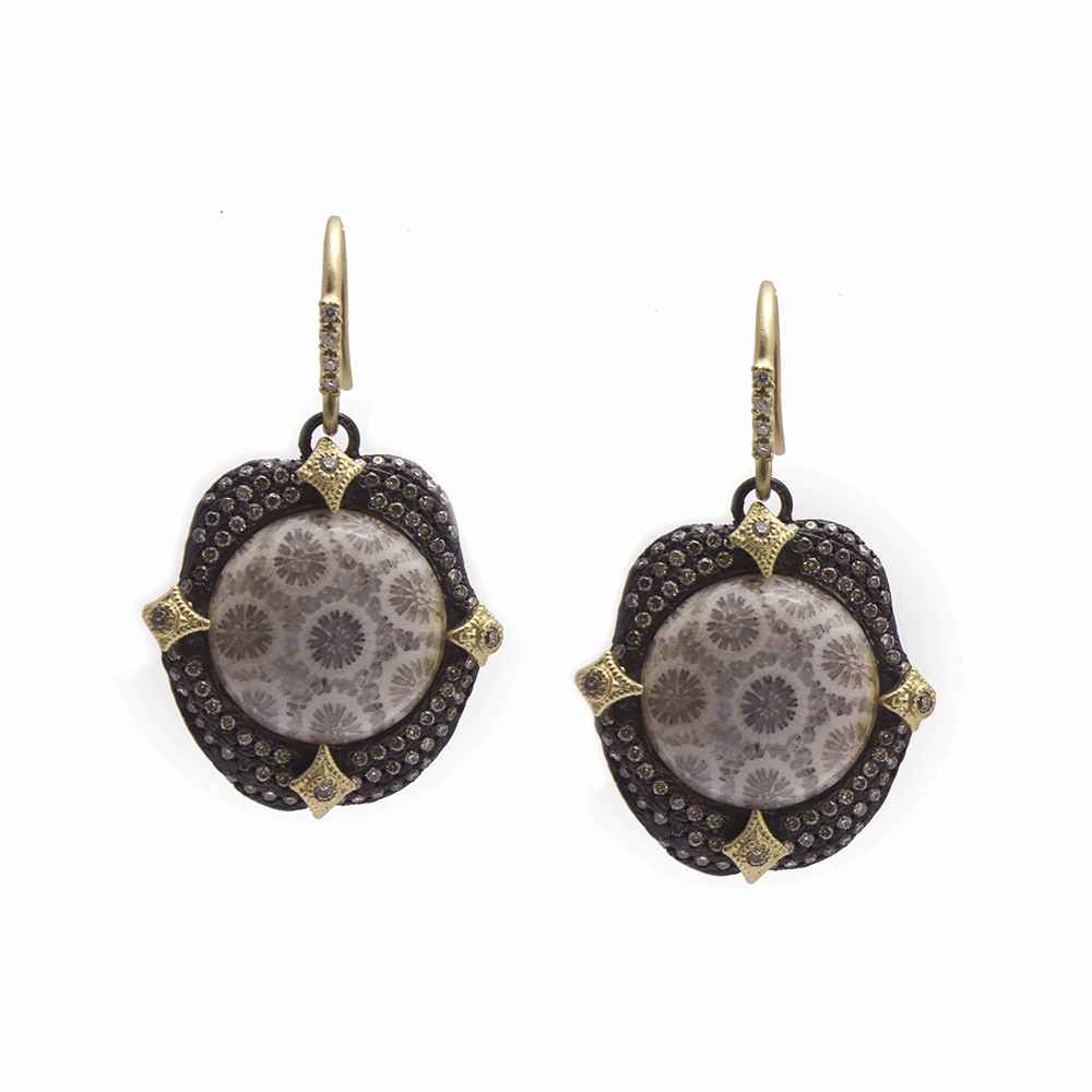 Fossilized Coral Earring