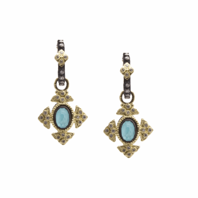 Petite Oval Crivelli Cross Earrings With Blue Turquoise