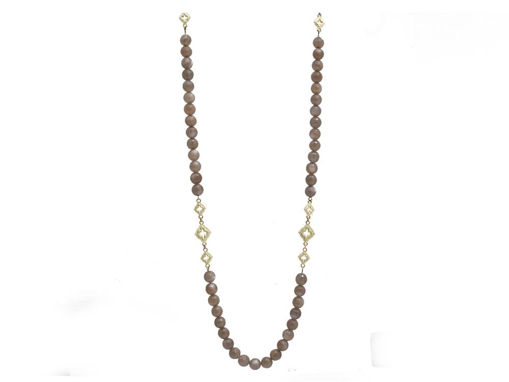 Brown Moonstone Beaded Necklace