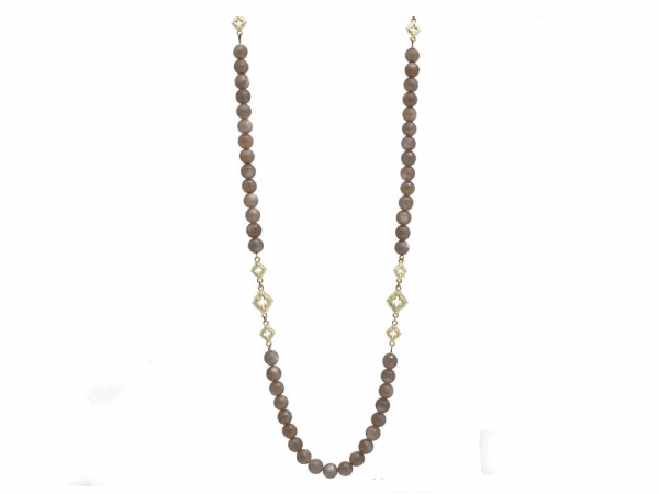 Closeup photo of Brown Moonstone Beaded Necklace