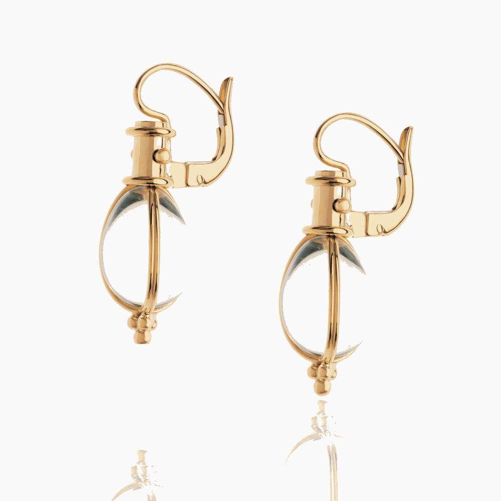 18K Yellow Gold Classic Temple St. Clair Amulet Earrings with rock crystal.
