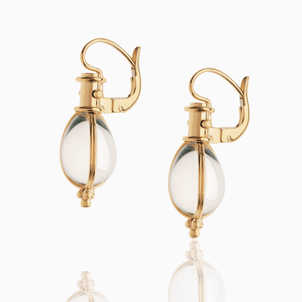Closeup photo of 18K Yellow Gold Classic Temple St. Clair Amulet Earrings with rock crystal.