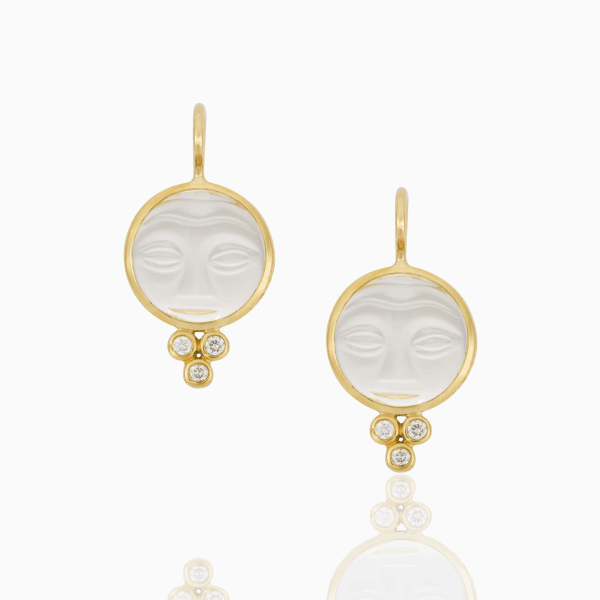 Closeup photo of 18K yellow Gold Moonface Earrings with Rock Crystal and diamonds - 10mm