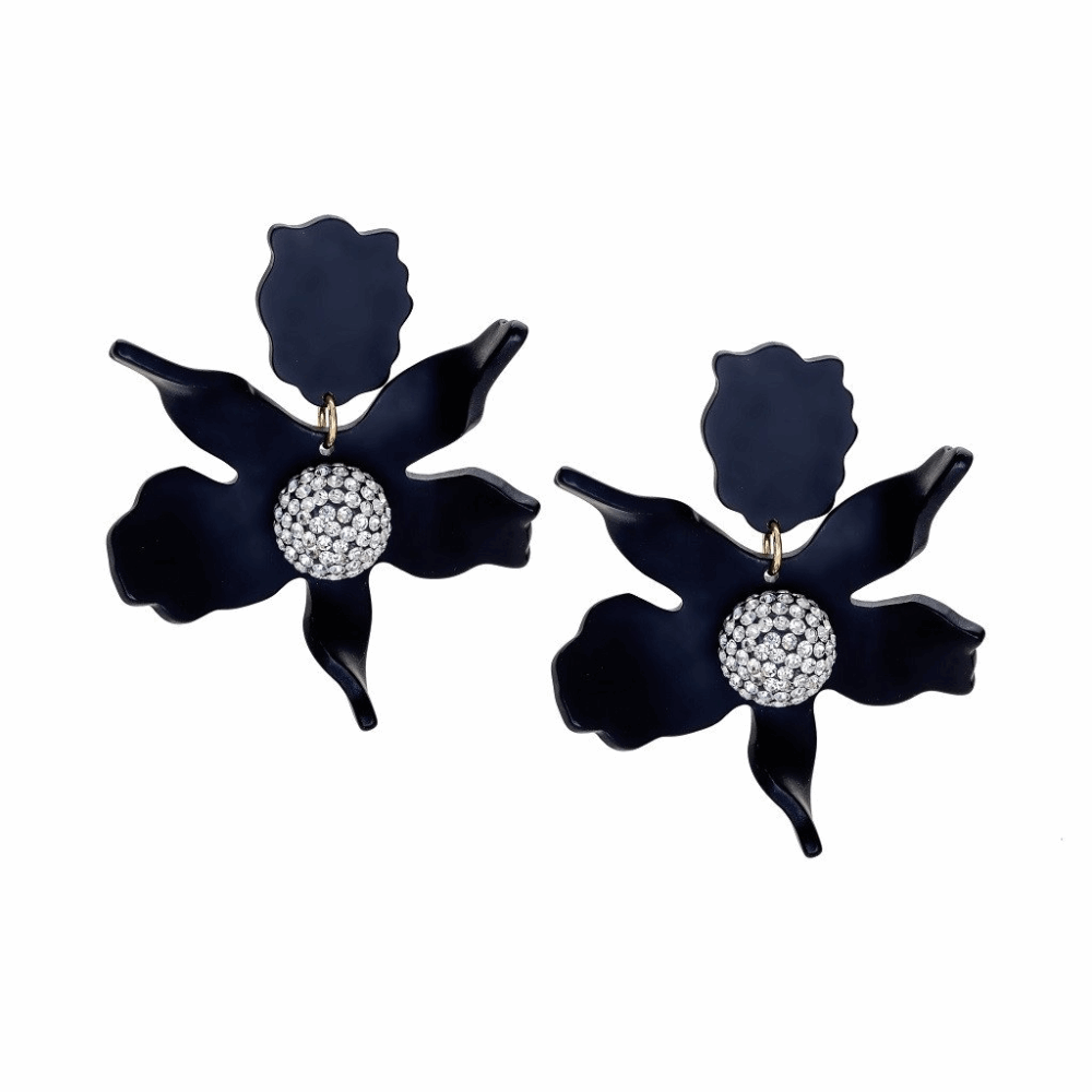 CRYSTAL LILY FLOWER EARRING - Black