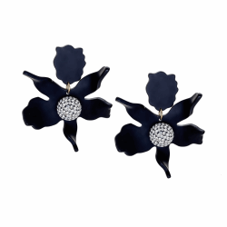 Closeup photo of CRYSTAL LILY FLOWER EARRING - Black
