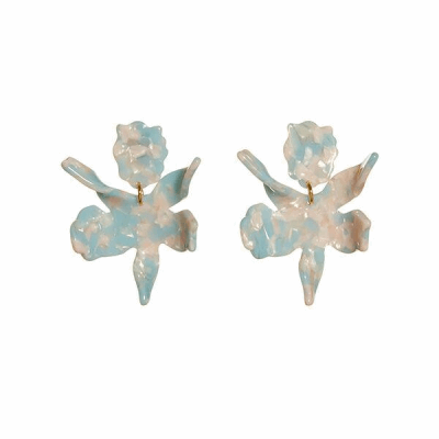Closeup photo of SMALL PAPER LILY EARRINGS - Sky Blue