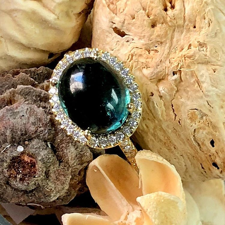 Image 2 for 18K Tourmaline Cabochon Ring with Diamond Halo