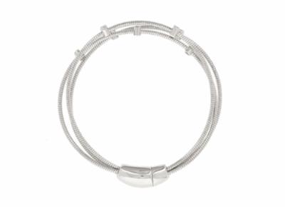 Closeup photo of DNA Spring 3 Strand Bracelet With 7 Diamond Stations - Rhodium