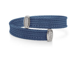 Closeup photo of Blueberry Cable Bypass Bracelet with 18tk White Gold & Diamonds – ALOR