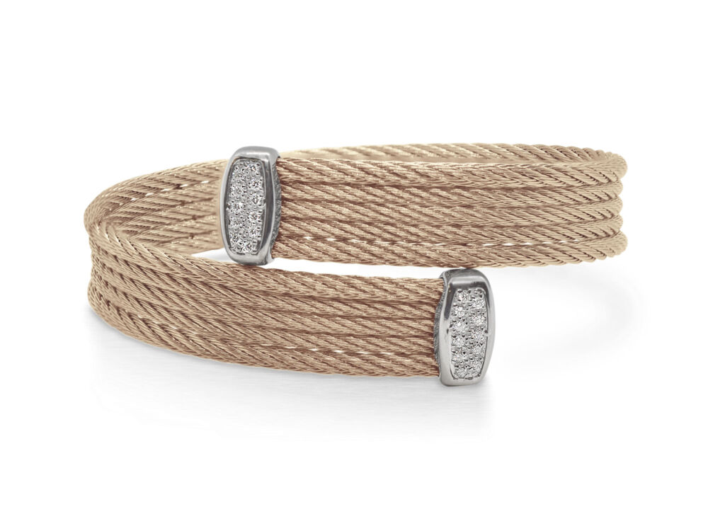Carnation Bypass Bracelet with 18tk White Gold & Diamonds – ALOR