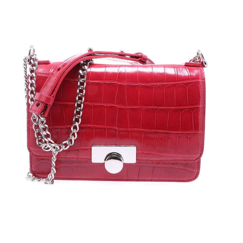 Image 2 for Ruby Red Alligator Chain Bag