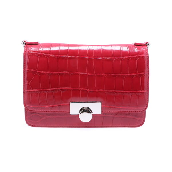 Closeup photo of Ruby Red Alligator Chain Bag