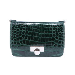 Closeup photo of Forest Green Alligator Chain Bag