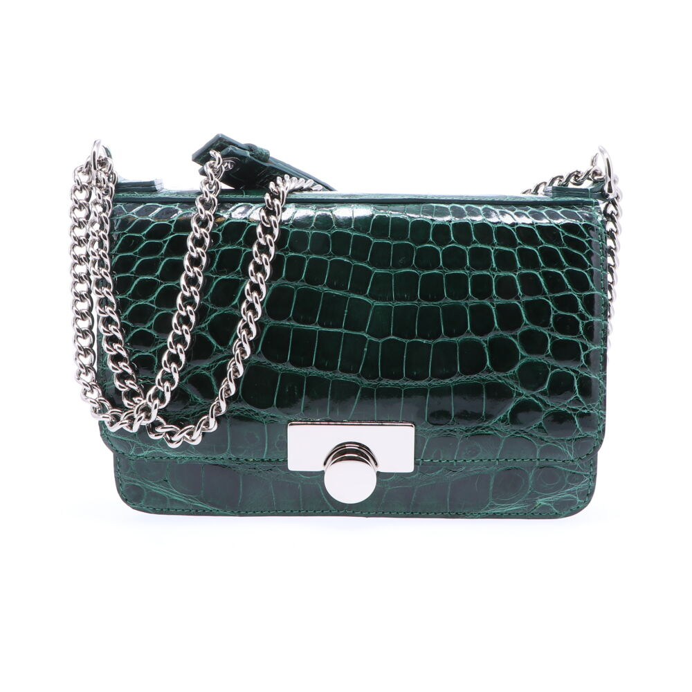Image 2 for Forest Green Alligator Chain Bag