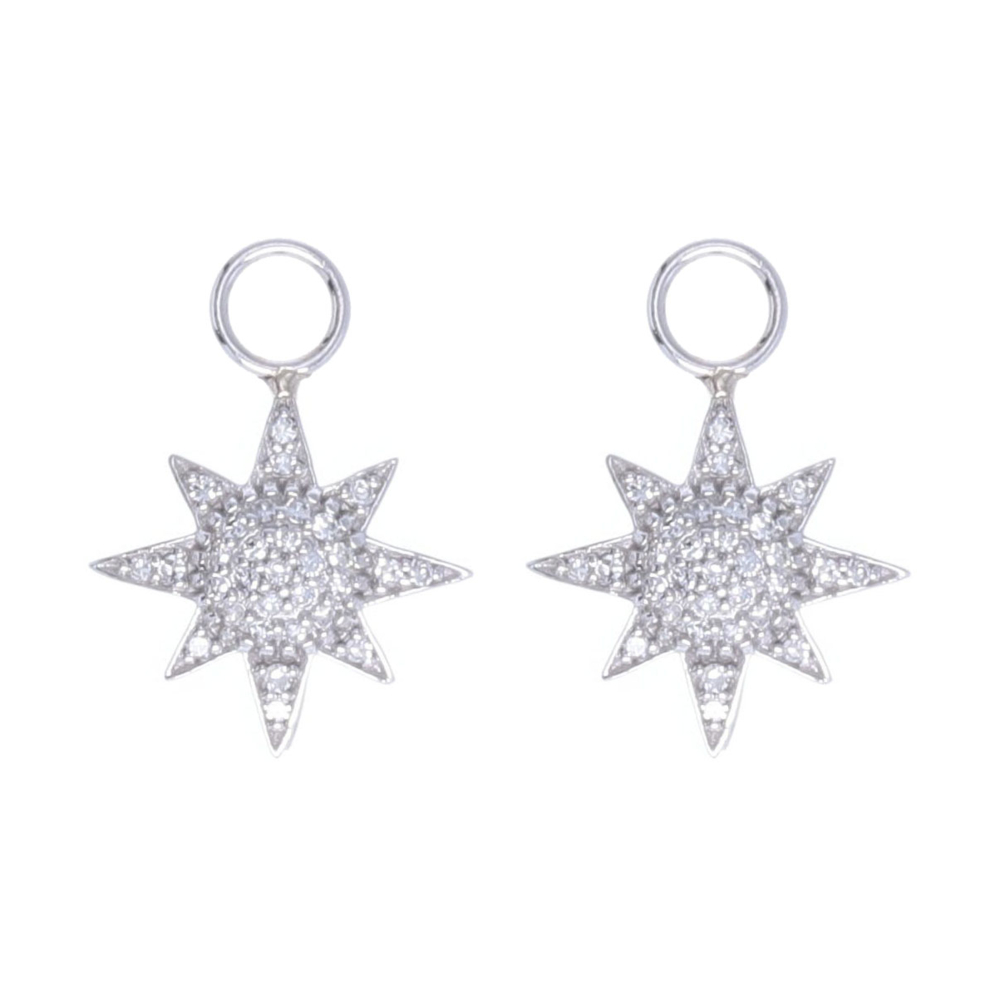 14k White Gold Pave Diamond Starburst Earring Charms