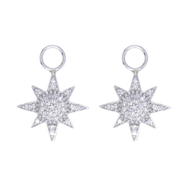 Closeup photo of 14k White Gold Pave Diamond Starburst Earring Charms