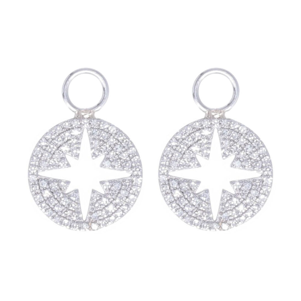 14k White Gold North Star Cut Out Earring Charms