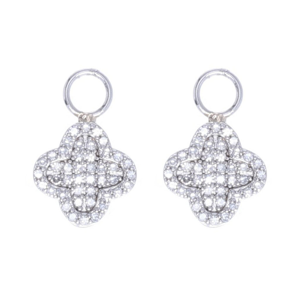 14k White Gold and Diamond Clover Motif Earring Charms