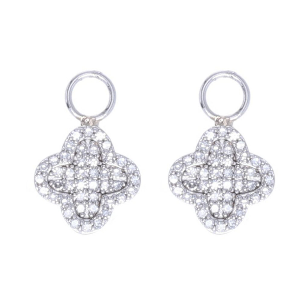 Closeup photo of 14k White Gold and Diamond Clover Motif Earring Charms