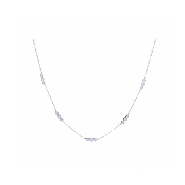 Closeup photo of 14k WG 5 Station Diamond Necklace