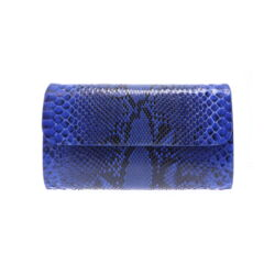 Closeup photo of Large Electric Blue Python Clutch