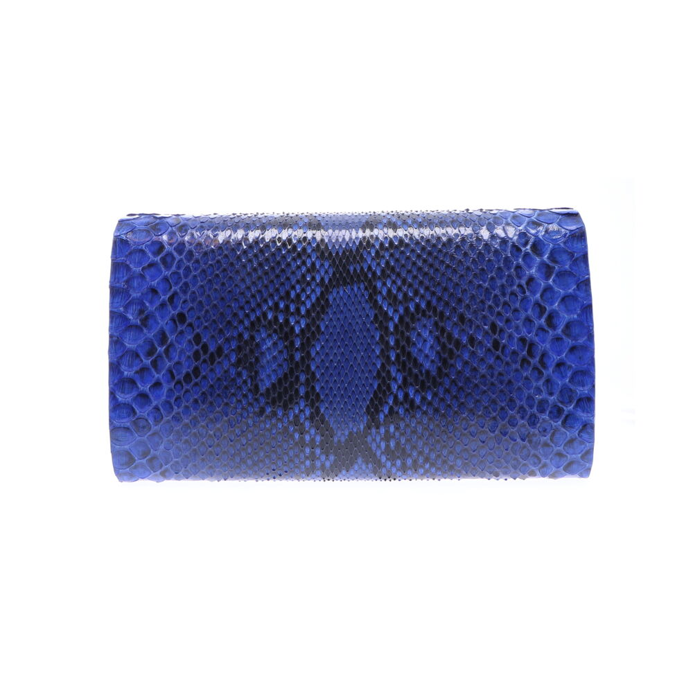 Image 2 for Large Electric Blue Python Clutch