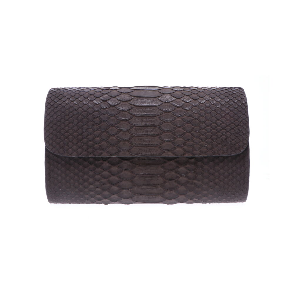 Large Grey Python Clutch