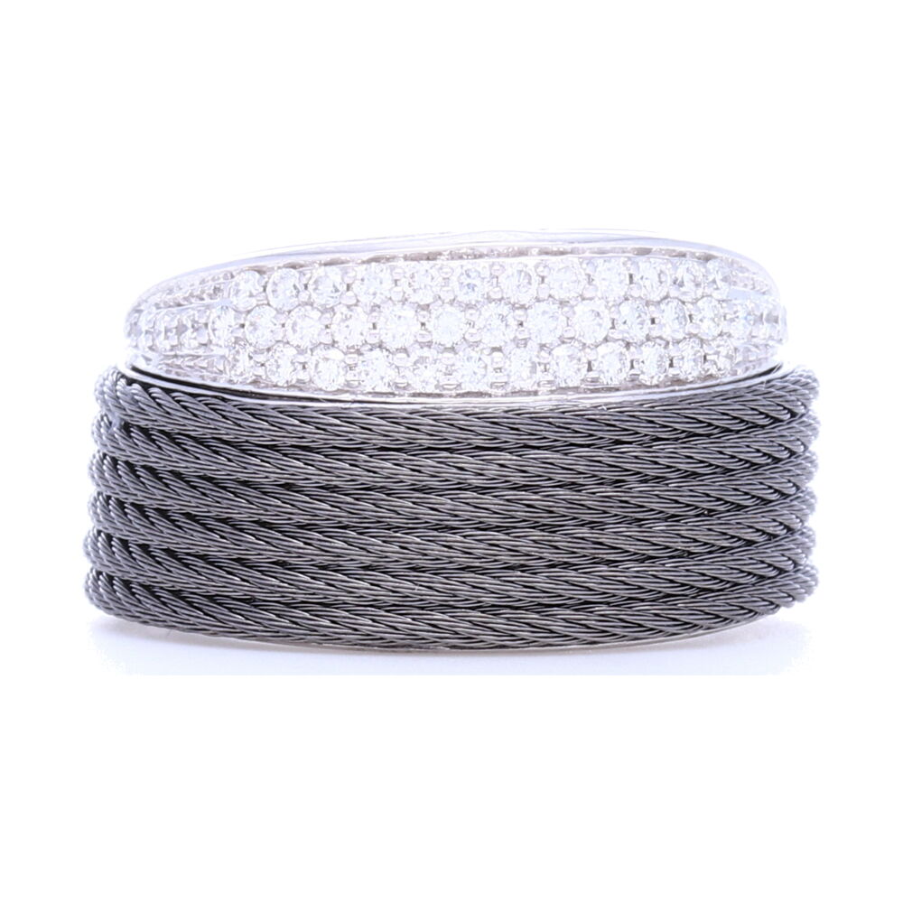 Slanted Grey Cable Ring with Diamonds