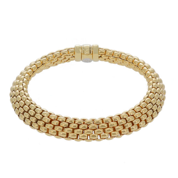 Closeup photo of 18k Estate Fope Woven Link Bracelet 30.4g