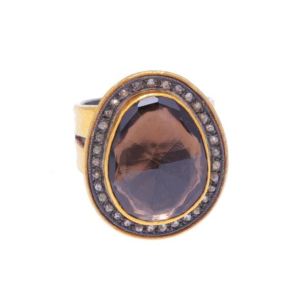 Closeup photo of Kurtulan 24k Gold and Smokey Quartz and Diamond Ring