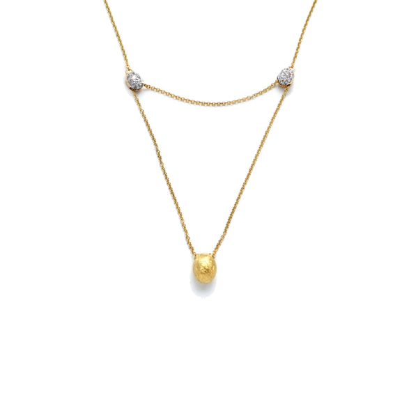 Closeup photo of Yellow Gold Dancing Elite Adjustable Y to Drop Necklace