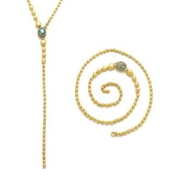 Closeup photo of Yellow Gold London Blue Topaz Reverse Necklace