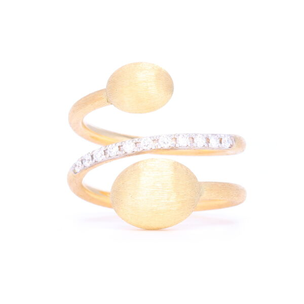Closeup photo of Yellow Gold Spiral Dancing Ring with Diamonds